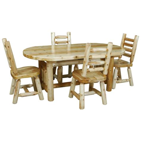 trestle dining room table sets cedar log trestle base dining table set