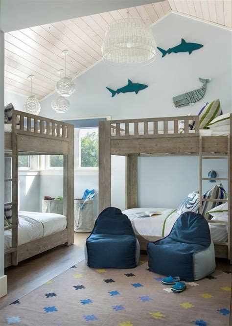 blue themed bedroom blue fish themed boys bedroom with gray wash bunk beds