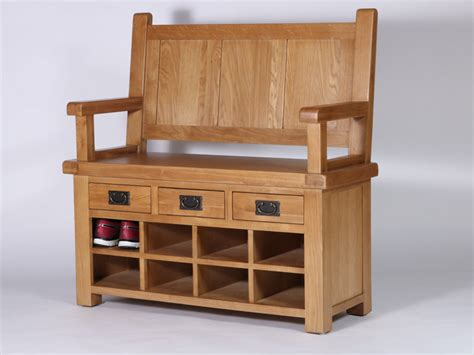 monks storage bench rustique oak monks bench with shoe storage and 3 drawers