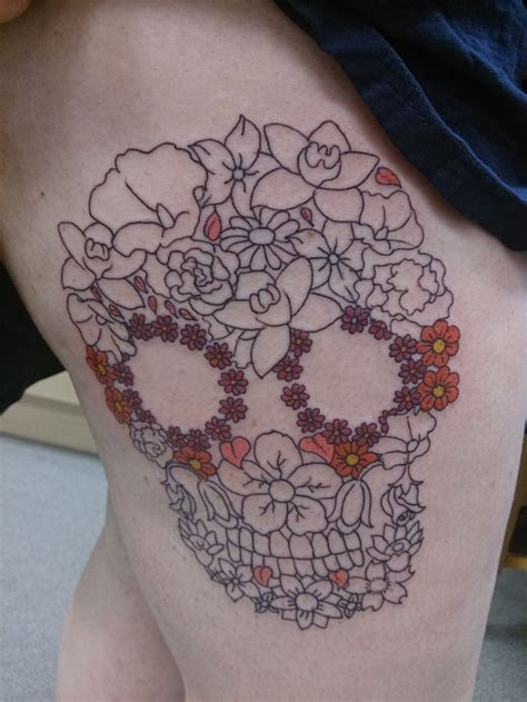 thigh piece tattoos skull flowers thigh want