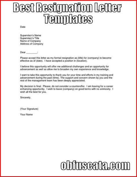 Best Resignation Letter Templates Best Letter Template