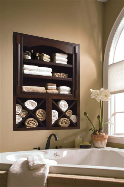 Kitchen Craft Cabinets Dealers by Built In Bathroom Storage Shelf Above Jacuzzi Bathtub