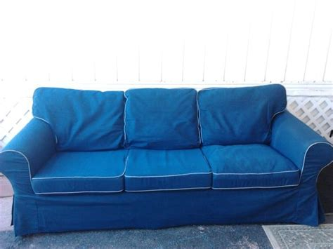 blue jean sectional couch navy blue denim ikea ektorp sofa cover in excellent