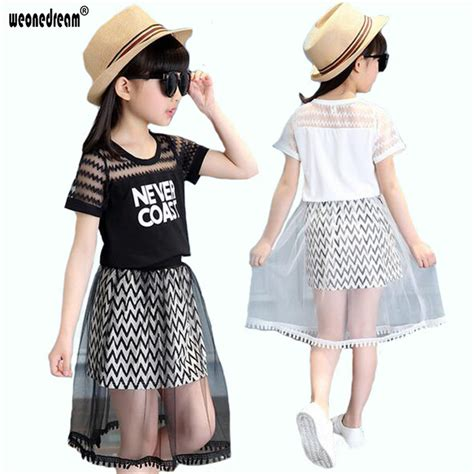 Letter Mesh Casual Top 25093 weonedream clothes sets t shirt mesh skirt casual letter lace summer dress