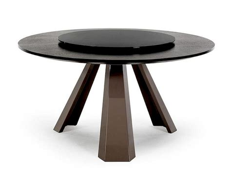 Solid Wood Formal Dining Room Sets by Contemporary Round Wenge Table W Glass Lazy Susan 44d8958 3