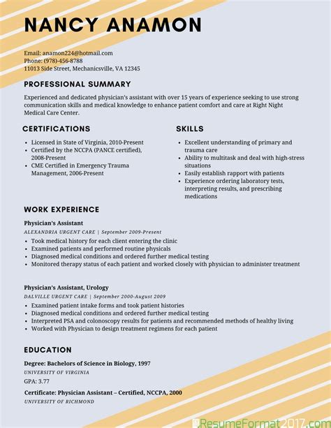 professional resume examples 2016 2017 resume format 2016