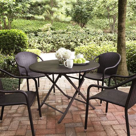 Crosley Patio Furniture by Crosley Palm Harbor 5 Outdoor Dining Set W Stackable Chairs