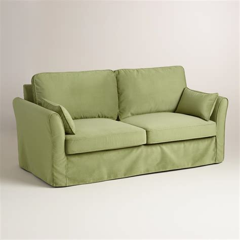 Oregano Green Velvet Loose Fit Luxe Sofa Slipcover World Green Sofa Slipcover