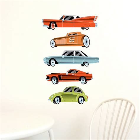 vehicle wall stickers vintage cars wall decals highway fabric not vinyl