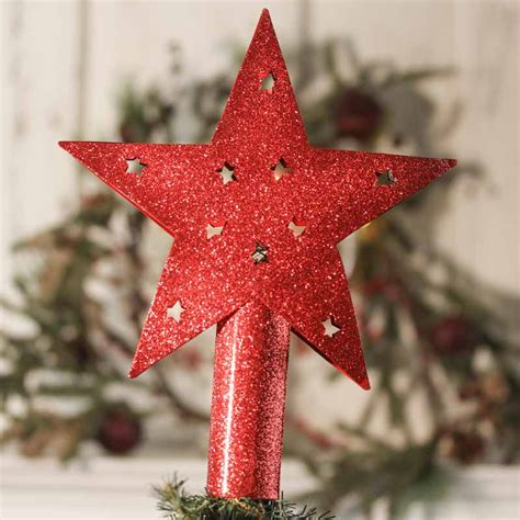 red glitter star tree topper trees and toppers