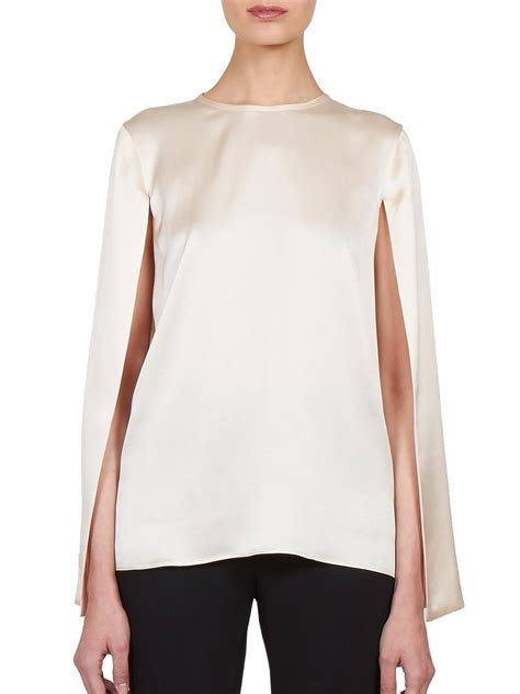 givenchy silk satin cape blouse in lyst