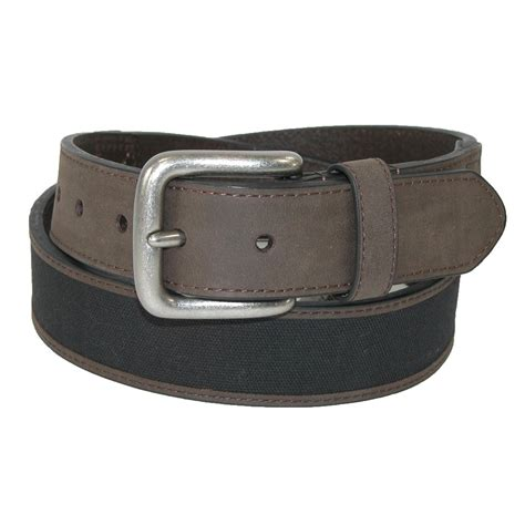 mens leather with canvas inlay casual belt by aquarius