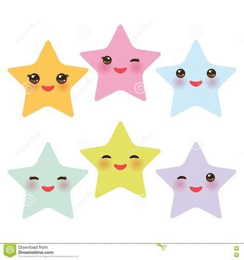 Kawaii Stars Set, Face With Eyes, Boys And Girls Pink Green Blue Purple Yellow Pastel Colors On