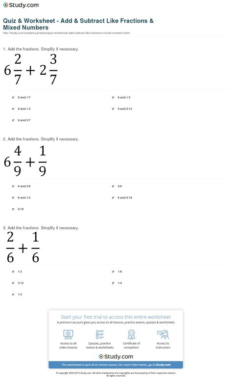 Adding And Subtracting Mixed Numbers Worksheet by Quiz Worksheet Add Subtract Like Fractions Mixed