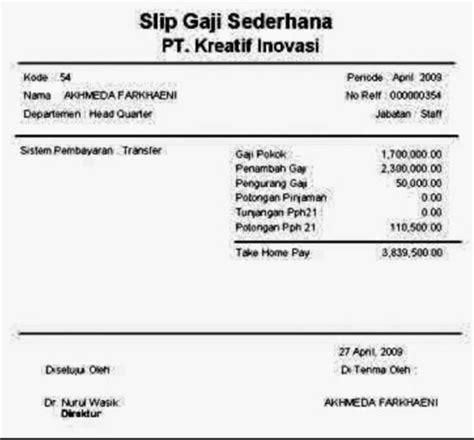 contoh slip gaji format pdf 7 contoh slip gaji karyawan guru perusahaan pns file