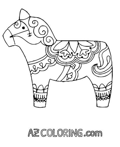 dala horse coloring page coloring home