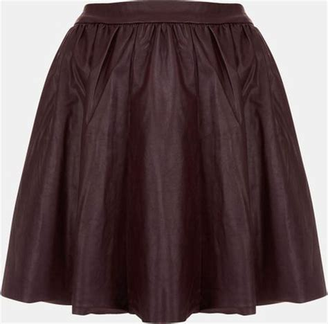 topshop andie faux leather skater skirt in purple