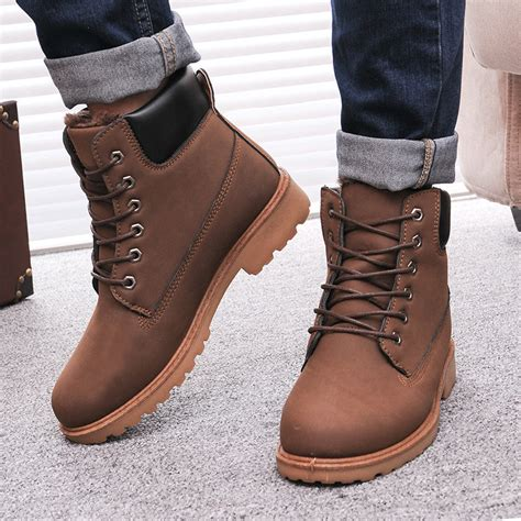boots for winter mens leather boots fashion winter boots ankle snow