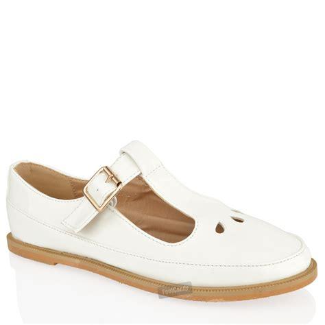 Flat Shoes Dm 98 1 womens flat cut out t bar pumps black patent shoes size ebay