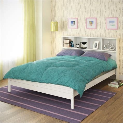white double headboards full double bed with bookcase headboard in white baf 510 d