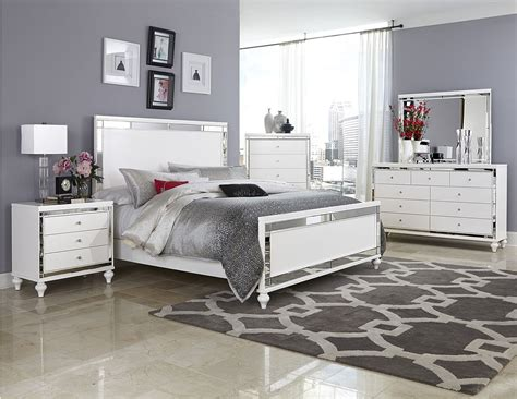 Mirror Bedroom Set | 4 pc homelegance alonza beveled mirror frame bedroom set