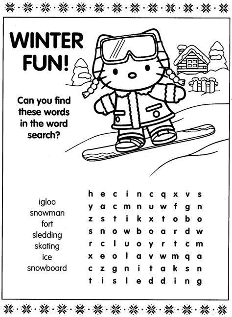 hello kitty printable activity sheets 6 best images of hello kitty printable activities