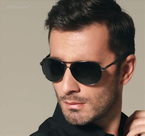 veithdia kacamata aviator polarized sunglasses black
