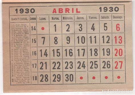Fotos Calendario Original Recambio Original De Calendario A 241 O 1930 Comprar