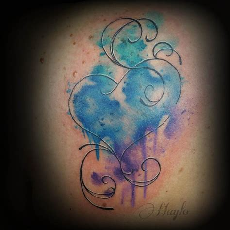 custom watercolor style heart by haylo tattoonow