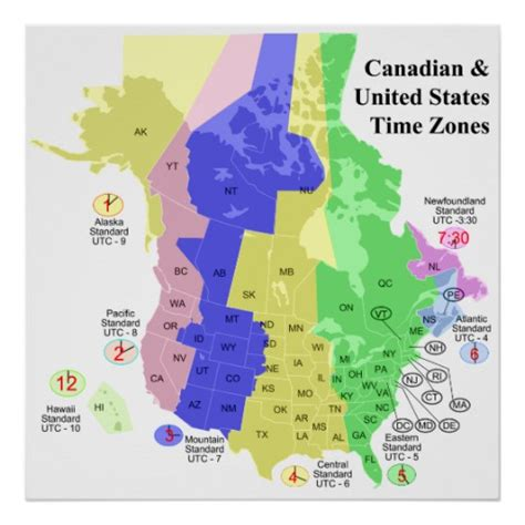 time zone map of usa and canada canadian united states political time zone map poster
