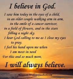 i believe in god i saw him today in the eyes of a child