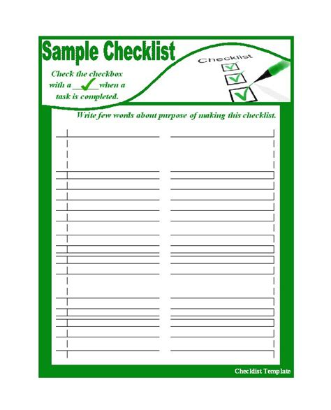 checklist templates 50 printable to do list checklist templates excel word