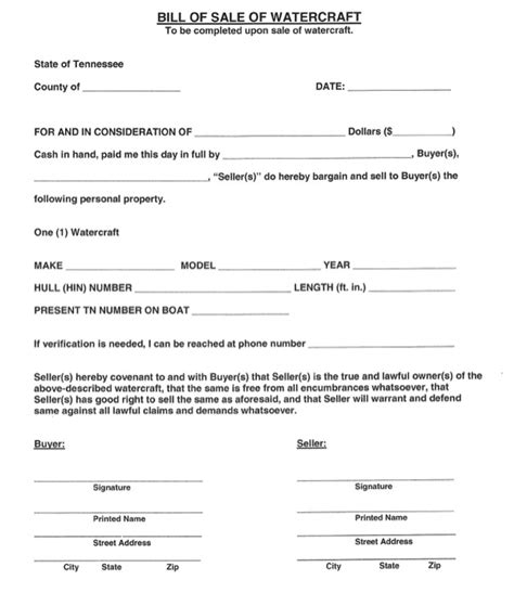 tennessee bill of sale for a boat download tennessee watercraft bill of sale form for free