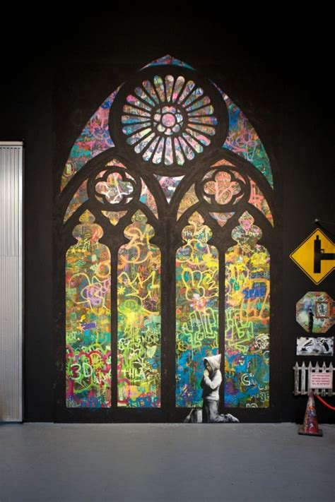 banksy, cathedral, graffiti, religion   image #225630 on