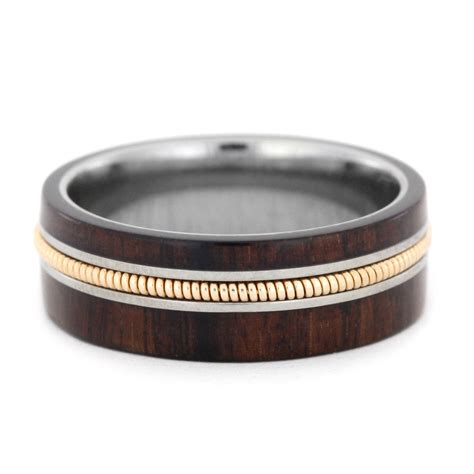 guitar string jewelry with bolivian rosewood and titanium ring
