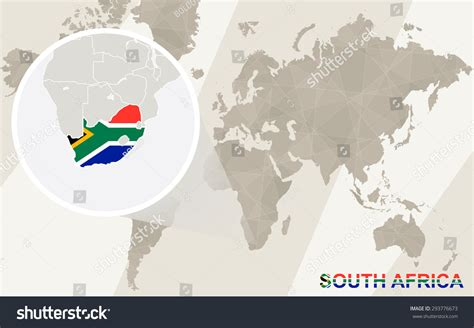 africa map zoom zoom on south africa map and flag world map stock vector
