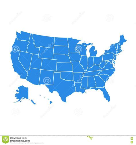 america map blue high detail usa map for each country united states of
