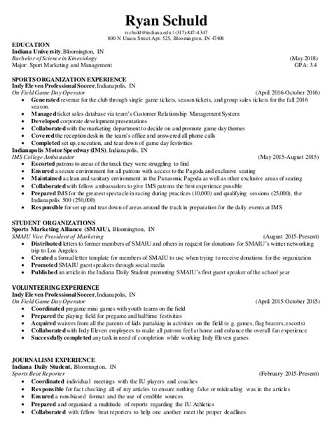 sports marketing and management resume