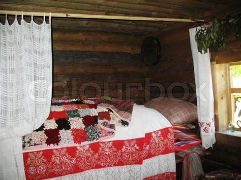 russian bedroom bedroom in ancient russian county novgorod russia stock
