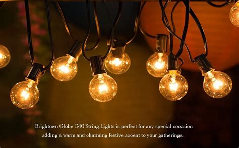 Outdoor Bulb Lights String 25ft G40 Globe String Light With 25 Clear Bulbs Outdoor Market Lights For Outdoor
