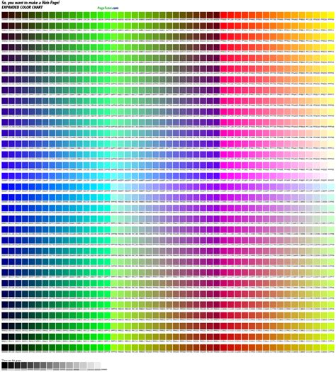 hexadecimal color codes 1536 color chart