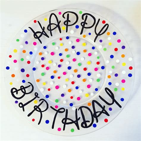 personalized happy birthday plate hand painted plate 10 inch