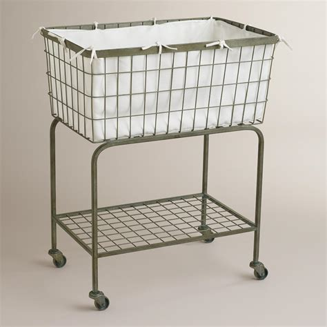 Rustic Home Decor Stores by Ellie Rolling Laundry Cart World Market