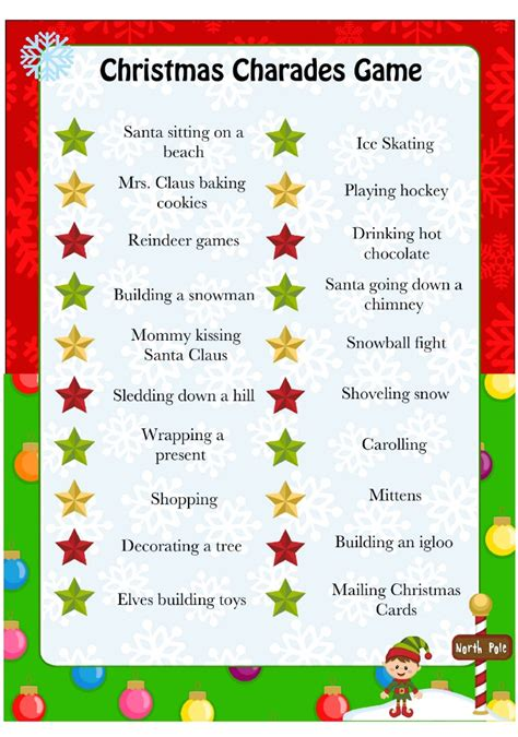 christmas games printable for adults charades munchkins