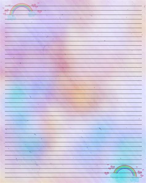free printable pretty lined paper 6 best images of free printable rainbow writing paper