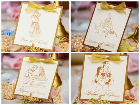 Disney Prince and Princess reception table cards with gold