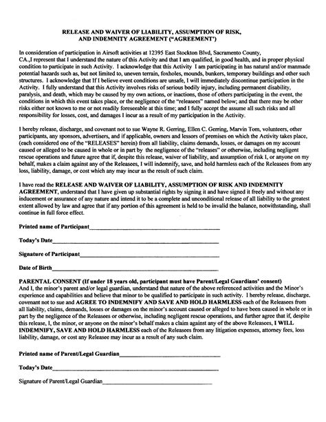 liability waiver forms free printable documents