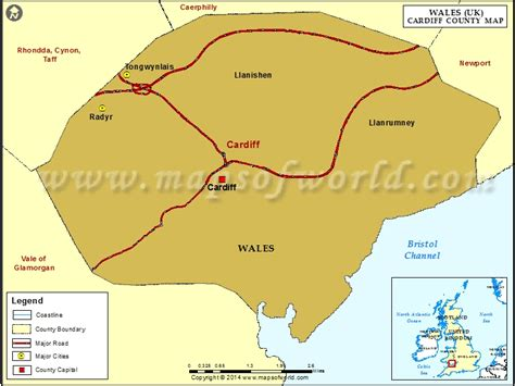 map  cardiff county wales uk