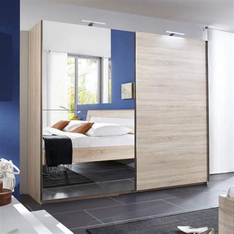 adda oak sliding oak wardrobe with length mirror
