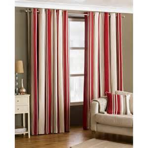 Cream Striped Curtains Buy Broadway Red Cream Striped Ring Top Curtains More